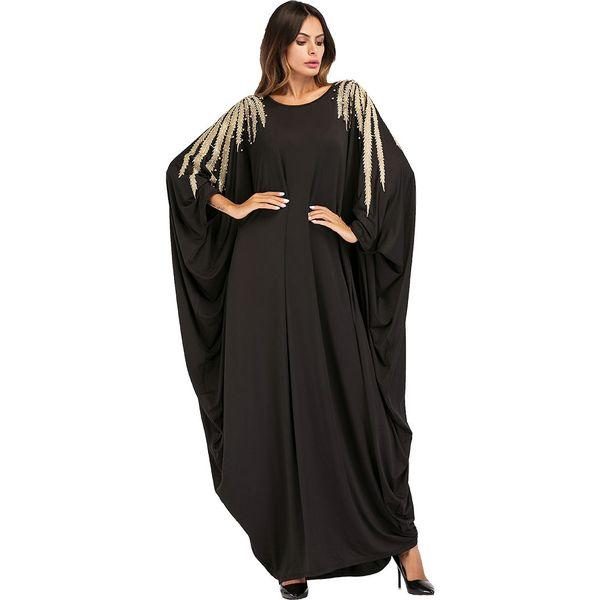 187034 Women Fashion Muslim Hui Dubai Bead Embroidery Bat Sleeve Robe Big Code Dress Plus Size Corban Abaya Hijab Musulman Robes Women Robes