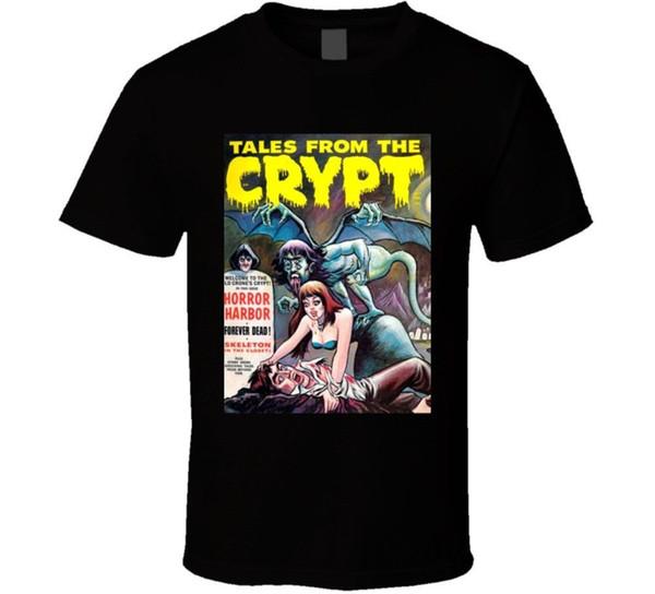 Crypt Tales Harbour Harbour Comic Book masalları Tv Show Fan T Gömlek Yuvarlak Yaka Kısa Kollu T-Shirt Üst Tee ARTı BOYUTU
