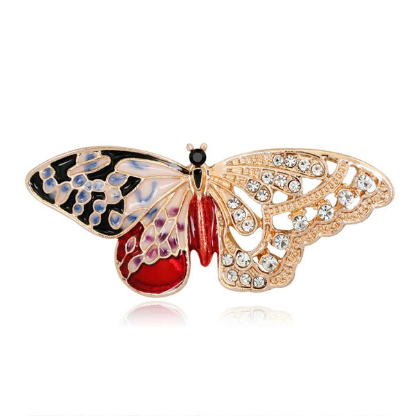 Enamel Butterfly Crystal Brooches Pins For Women Mens Clothes Scarf Bag Elegant Animal Broach Rhinstone Broche European United State Style
