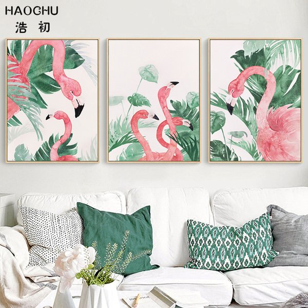 HAOCHU Nordic Aquarell Landschaft Tropical Monstera Lassen Pflanze Flamingo Tier Leinwand Malerei Wandbild Wohnzimmer Decor