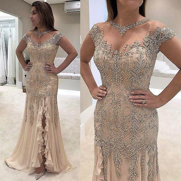 2019 Luxus Sheer Neck Mermaid Abendkleider Perlen Pailletten High Side Split Abendkleider Elegante Abendkleider Abendgarderobe Kleider