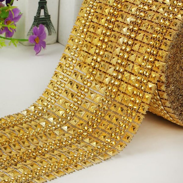Gold imitation diamond MOQ 10yards DIY party decorations Plastic electroplated mesh drill sparkle bling ribbon Wedding Decorations WT078