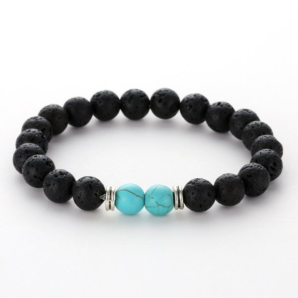 20styles 8mm naturel noir lave pierre perles bracelet bricolage volcan rock huile essentielle diffuseur bracelet pour femmes hommes bijoux