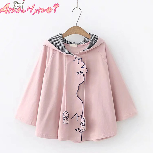 2018 Autumn Women Jacket Japanese Style Mori Girl Kawaii Cat Embroidery Loose Batwing Sleeve Cape Hooded Coat Female Outerwear