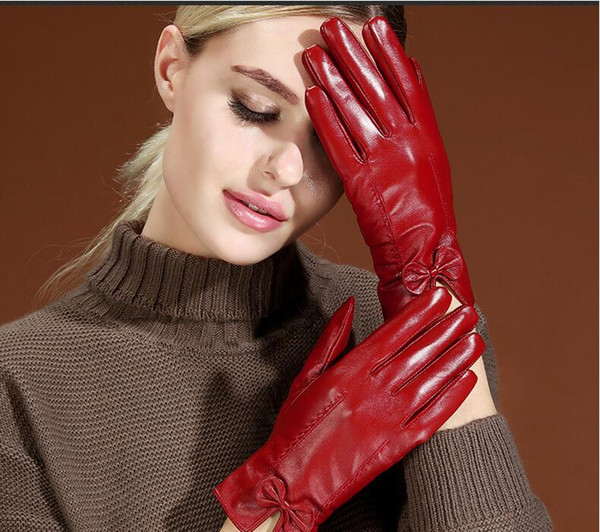 Women winter fur top quality Genuine Leather Sexy Luxury Driving touch screen gloves Outdoor riding soft warm sheepskin finger gloves