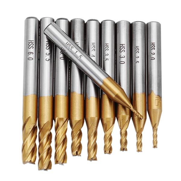 10pcs Titanium Coating 1.5-6.0mm HSS 4 Flute End Mill Cutter 6mm Shank CNC Drill Bits