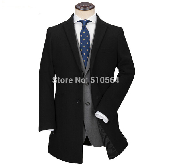 Custom made men Classics cashmere middle length black coat formal and casual jacket