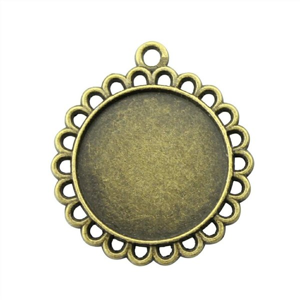 16 Pieces Cabochon Cameo Base Tray Bezel Blank Hand Made Jewelry Making Flower Single Side Inner Size 20mm Round Necklace Pendant Setting