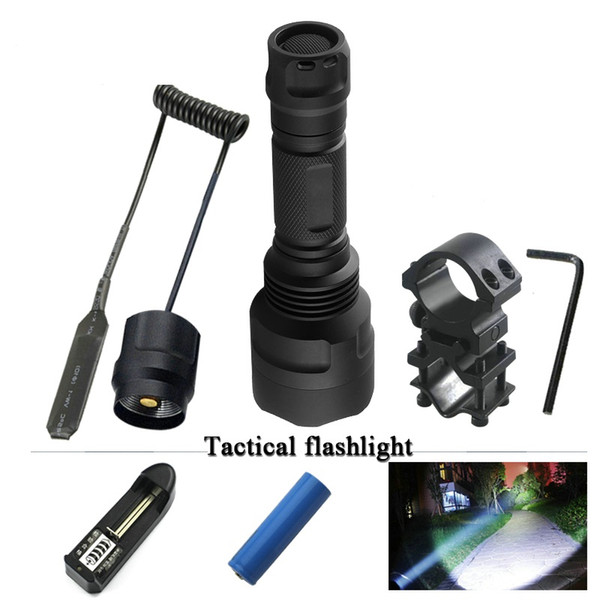 3000 Lumens T6 LED Tactical Flashlight Torch 3 Light Modes Rechargeable Hunting Torch Lamp Linterna+18650+Charger+Gun Mount+Tail Switch