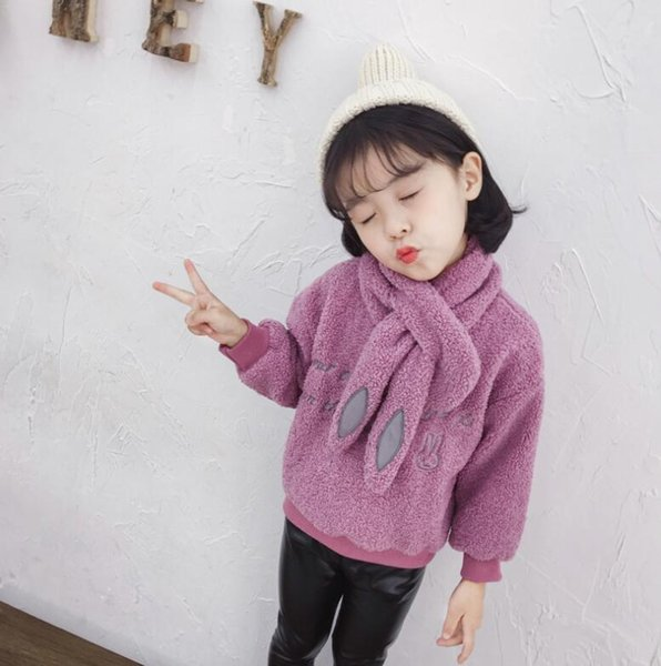 U955 Sonbahar Kış Kore yeni kızlar kalınlaşma Tişörtü + eşarp Moda Kız Eldivenler boyutu 100-140 cm 2018 Toptan