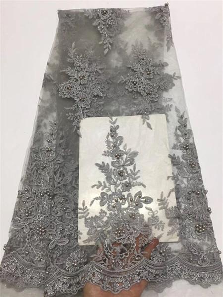 Tessuto africano del merletto US royal blue africano tessuto voile francese con perline 5 yards per lotto abito da sposa in pizzo grigio verde