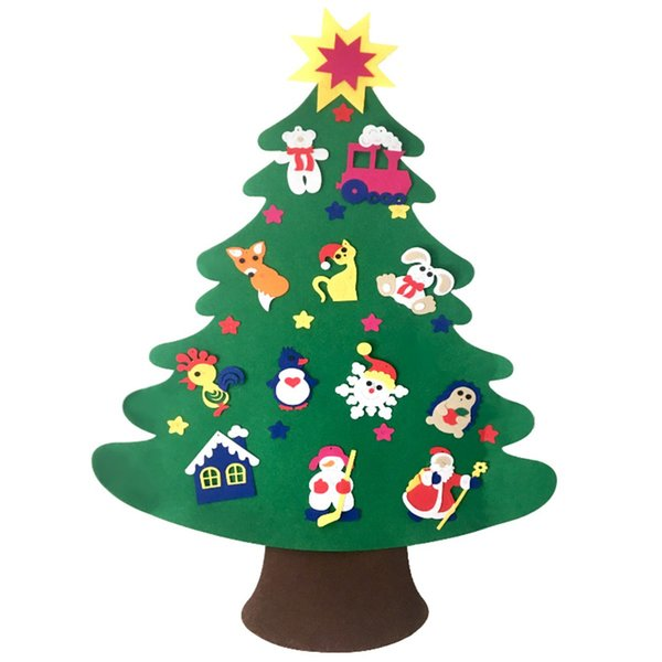 Door Wall Hanging Non-Woven Christmas Tree DIY Ornaments Set Kids Toys Christmas Decorations For Home New Year Gifts Navidad