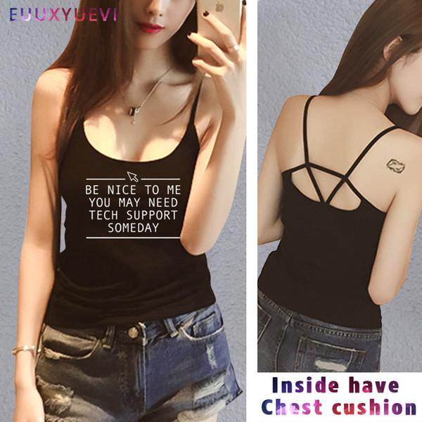 Funny Tech Support Printed Frauen Shirt Neuheit Geschenk Tee Computer Geek Smart Harajuku Stil Mädchen Weste Tanks Camis Tank Top