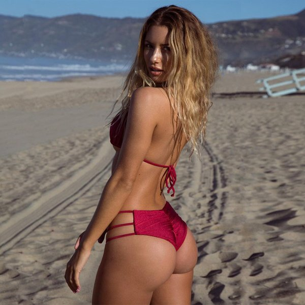 66bf27d639fbb Women Summer Sandy beach halter Solid Two-Piece Suits Bikini Sexy  fashionable beautiful High elasticity Swimwear 8045SW