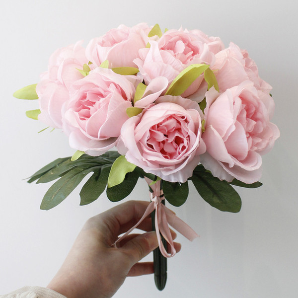 3 color artificial Cabbage Rose Lifelike artificial rose Bride bouquets for Home wedding Party Decorations factory directly sale
