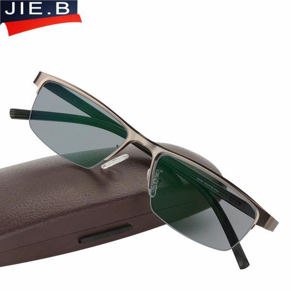 324d1b436f Compre Gafas De Sol De Acero Inoxidable Transition Photochromic Reading  Glasses Hombres Presbicia Dioptrías Gafas Gafas De Lectura Leesbril Eyewear  A $36.53 ...