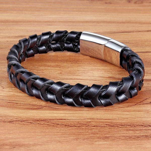 Homme Bracelet Marron Noir tressé bracelets en cuir pour Acier Inoxydable Fermoir