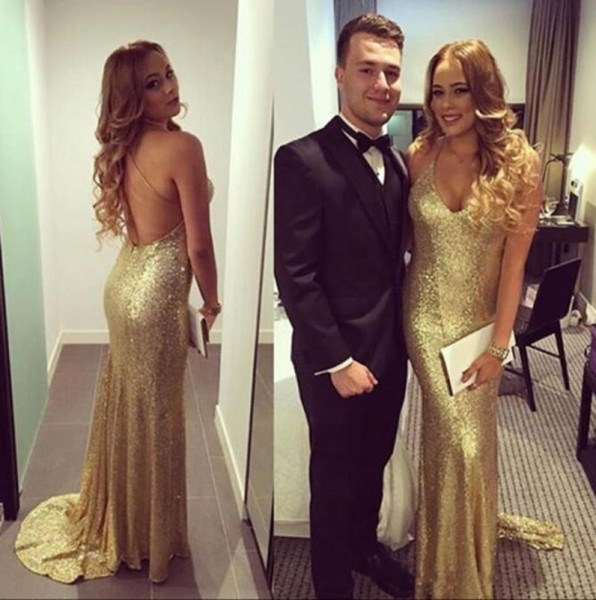 Fall 2018 Sparkly Gold Sequin Prom Dresses Criss-cross Straps Back Sexy Tight Dresses Party Evening Custom Made Size