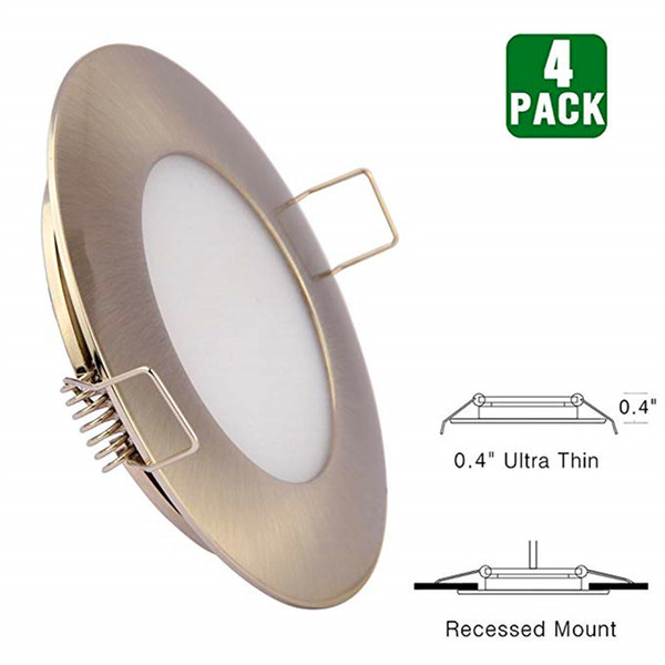 Topoch Mini Downlight LED regulable Paquete de 4 Clips de resorte de perfil bajo Montaje Full Puck Light de aluminio DC12V 3W 240LM para remolque Marine House