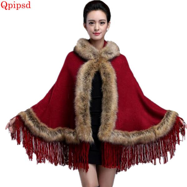 2018 New autumn winter hooded tassel shawl knit cardigan female faux fur cloak coat women's thicken hooded cape bat sleeve coat