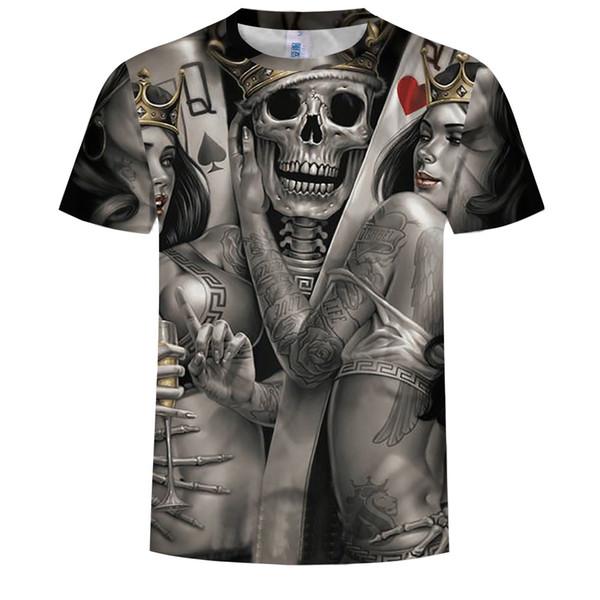 T-Shirts des Schädels 3d Männer 2019 HEISSER VERKAUF Modemarke Mens Casual 3D Gedruckt T-shirt Baumwolle Männer Kleidung t-shirt plus größe