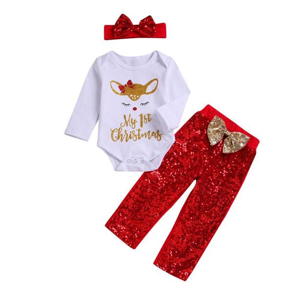Baby Girl Veados Lantejoulas Roupas Set Xmas Meninas Recém-nascidos Branco Romper + Red Bow Calças com headband 3 pçs / set Outono Boutique crianças Conjuntos de Roupas