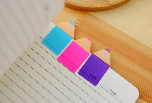 Candy color pencil shape fluorescent Sticky Notes Memo Pad with ruler Notes Memo Flags Bookmark for office school supply