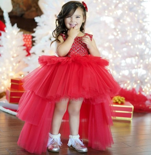 Red Sequined Ball Gown Flower Girl Dresses For Wedding High Low Backless Toddler Pageant Gowns Tulle Tiered Christmas Kids Prom Dress