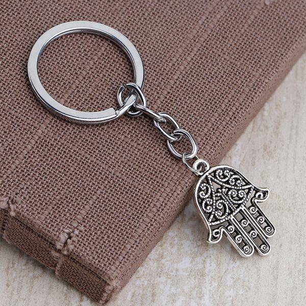 2018 Charm Silver Fatima Hand Hamsa Pendant Chain Keychain Evil eye Keyring Keyfob Jewelry Gift