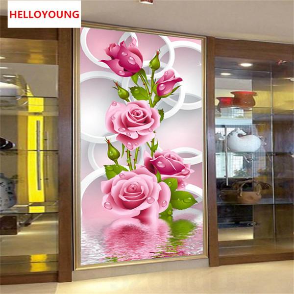 DIY 5D Diamanten Stickerei Pink Rose Zauberwürfel runder Diamant-Malerei Stickpackungen Diamant-Mosaik Home Decoration