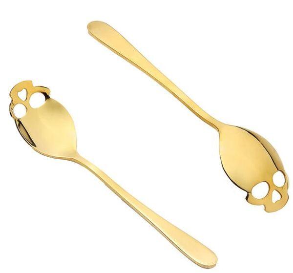 Cucchiaio argentato Testa di cranio Cucchiaio in acciaio inossidabile Set per adulti Cucchiaio cucchiaio Cucchiaio di metallo cucchiaio Scoop Creativo 4 6rx B