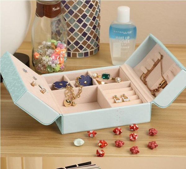 PU leather double open jewelry brand box Earrings display Packaging rings organizer case Gift box for women Birthday Valentine's Day