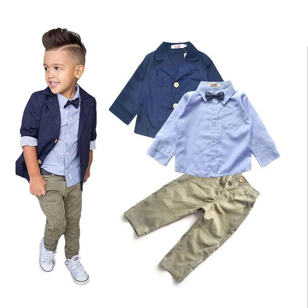 Toddler Kids Baby Boys Gentleman Outfits Suit Coat Shirt Denim Pants Set Clothes