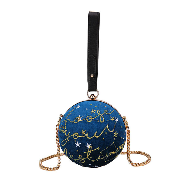 Personality Circular Round Ladies Evening Clutch Bag Embroidery Clutches Purse Women Party Mini Dinner Handbags Messenger Bags