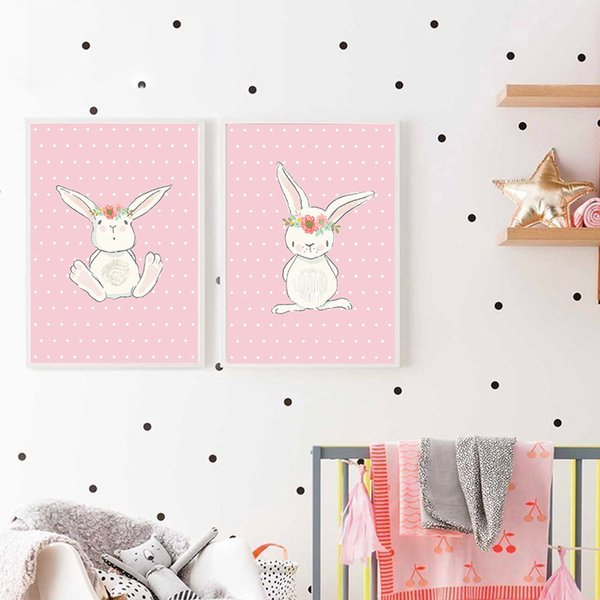Cute Pink Rabbit Bunny Wall Art Canvas Posters Cartoon Animal Nursery Prints Nordic Painting Picture Baby Bedrooom Decoration