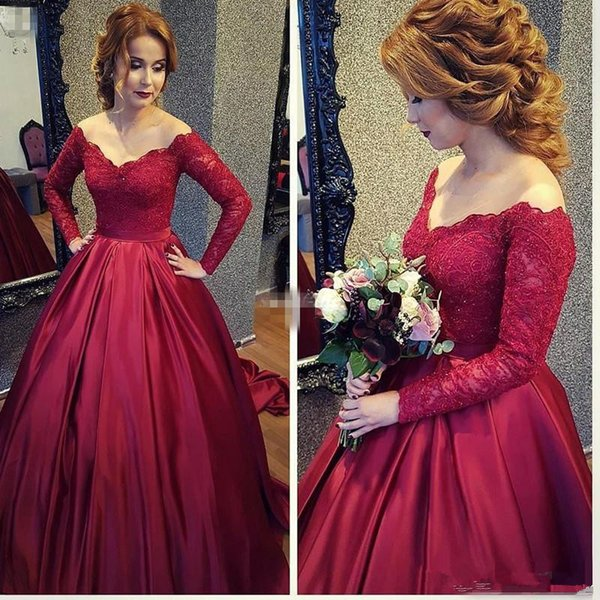 2018 Vintage Long Sleeve Women Formal Evening Dresses Red Lace Sequins Off Shoulder Mother of the Bride Dress Prom Gowns Arabic 31