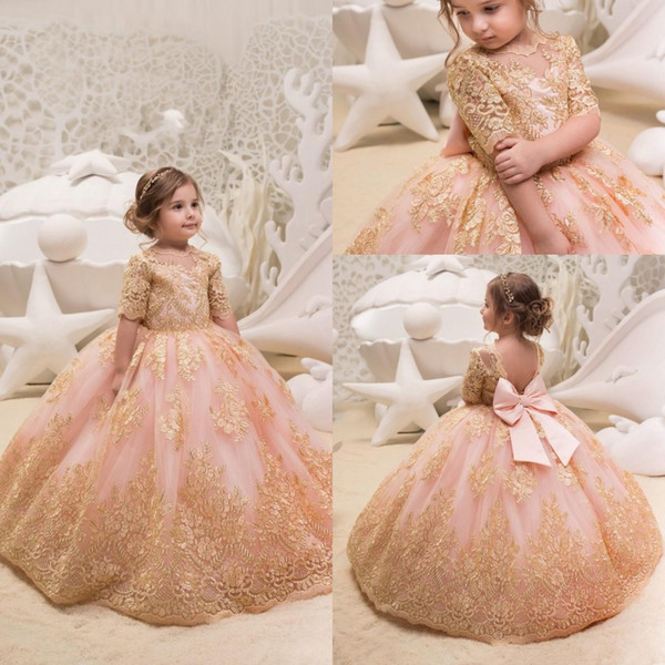 Princess Gold Appliques Toddler Kids Flower Girl Dresses Half Sleeves With Bow Tulle Ball Gown Girl Pageant Party Dress Custom Made