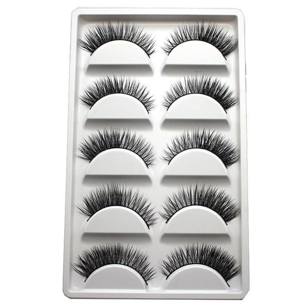5Pairs/Box Handmade Real Mink Beauty Long Natural Makeup Thick Fake False Eyelashes Black Eye Lashes Extension Tools