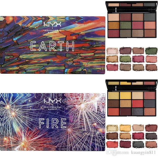 HOT NYX Cosmetic Top Quality with Best Price ! NYX In Your Element Fire and Earth 12 Colors Eyeshadow Waterproof Long-lasting