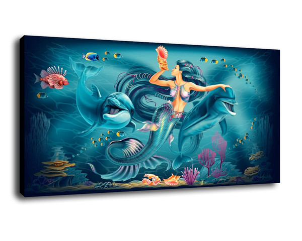 Cartoon Art The Mermaid And Dolphins,Oil Painting Reproduction High Quality Giclee Print on Canvas Modern Home Art Decor B3209
