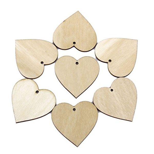 El corazón de madera de 40 mm forma los pequeños adornos de la forma mini para la decoración 100pcs / set del arte