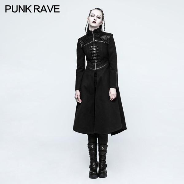 PUNK RAVE Novità Moda Donna Punk gotico Nero Lungo Cappotto Rock Cosplay Steampunk giacca in tessuto pettinato bifacciale
