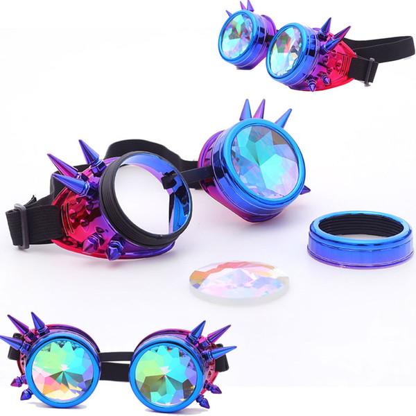 FLORATA Caleidoscopio Gafas coloridas Fiesta del festival Rave Gafas de sol EDM Lentes difractadas Gafas Steampunk