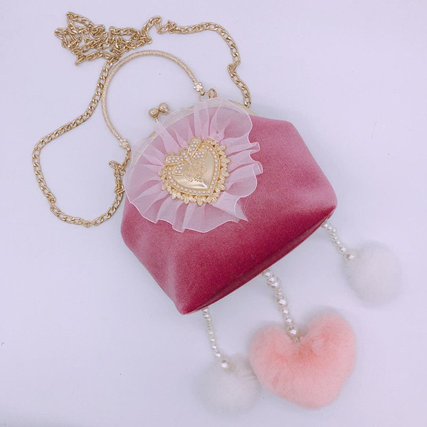 Princess pink mini handbags woman ladies party dinner lovely lace pearls YH083 girls chain clutches shoulder bags pink