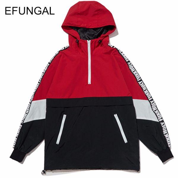 EFUNGAL Patchwork Color Block Pullover Hooded Jackets Hoodies Sweatshirts Zipper Tracksuit Hip Hop Male Casual Streetwear FD06
