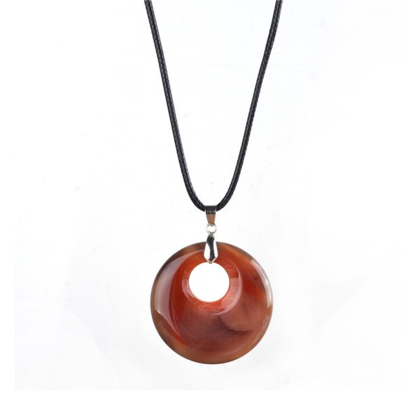 Natural Agates Pendant Necklace Raw Material Natural Stone Minerals Crystal Hollow Gem Pendant Charm Jewelry Making Findings