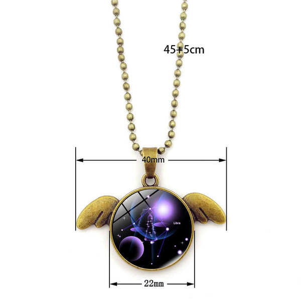 Twelve constellations series necklace Time Gem Cabochon angel's wings shaped pendant necklace Personified dog bronze sweater chain
