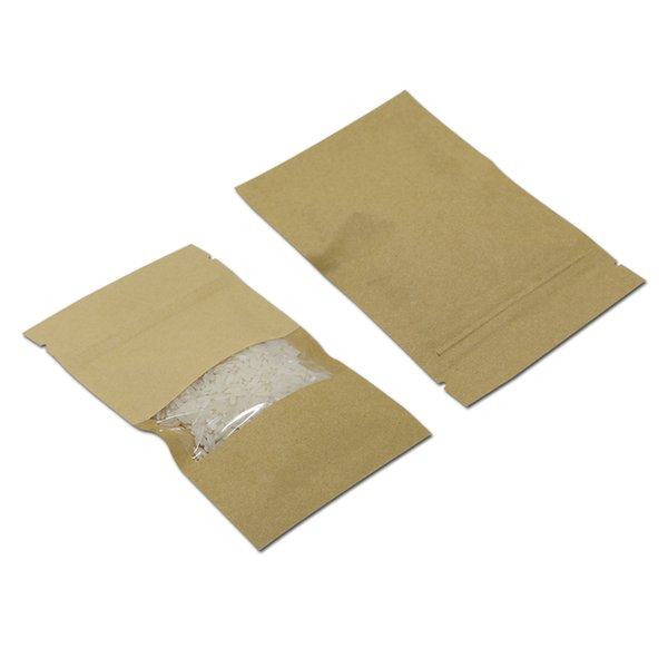 200Pcs/Lot Flat Brown Kraft Paper Zip Lock Bag With Clear Window Packaging Packing Pouch Reclosable Zipper For Nuts Tea Coffee