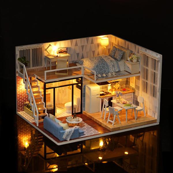 Nueva llegada DIY miniatura modelo casa de muñecas azul tiempo con muebles LED 3D casa de madera juguetes hechos a mano mejores regalos para niños