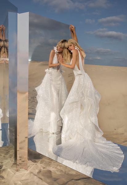 Pnina Tornai 2019 Sexy Wedding Dresses V Neck Backless Sequined Ruffles Plus Size Beach Sleeveless Sweep Trian Bridal Gowns Robe De Mariée